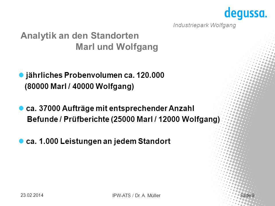 Slide 30 23.02.2014 IPW-ATS / Dr. A. Müller Industriepark Wolfgang