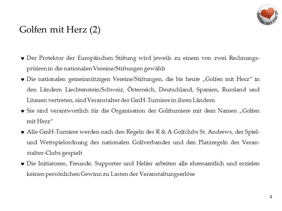 14 Golfen mit Herz - Österreich 2013 Datum Golfclub Charity Manager Erlöse werden direkt an die betrof- fenen Kinder und Jugendlichen ausgeschüttet.