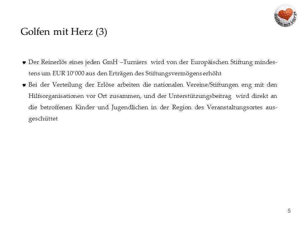 15 Golfen mit Herz - Deutschland 2013 Datum Golfclub Charity Manager Erlöse werden direkt an die betrof- fenen Kinder und Jugendlichen ausgeschüttet.