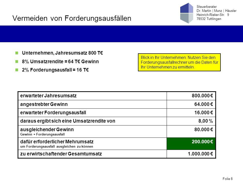 Folie 8 Steuerberater Dr. Martin | Munz | Häusler Heinrich-Rieker-Str. 9 78532 Tuttlingen Vermeiden von Forderungsausfällen erwarteter Jahresumsatz800