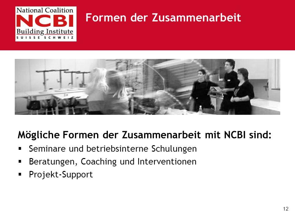 12 Formen der Zusammenarbeit Mögliche Formen der Zusammenarbeit mit NCBI sind: Seminare und betriebsinterne Schulungen Beratungen, Coaching und Interv