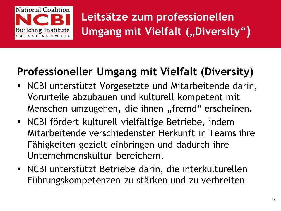 6 Leitsätze zum professionellen Umgang mit Vielfalt (Diversity ) Professioneller Umgang mit Vielfalt (Diversity) NCBI unterstützt Vorgesetzte und Mitarbeitende darin, Vorurteile abzubauen und kulturell kompetent mit Menschen umzugehen, die ihnen fremd erscheinen.