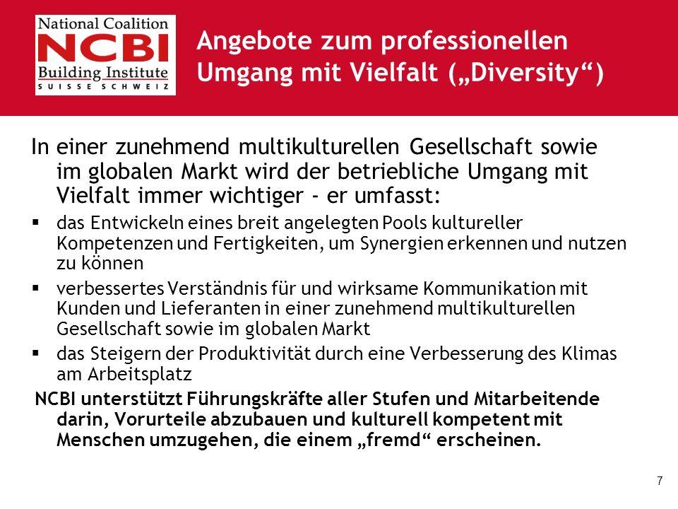 7 Angebote zum professionellen Umgang mit Vielfalt (Diversity) In einer zunehmend multikulturellen Gesellschaft sowie im globalen Markt wird der betri