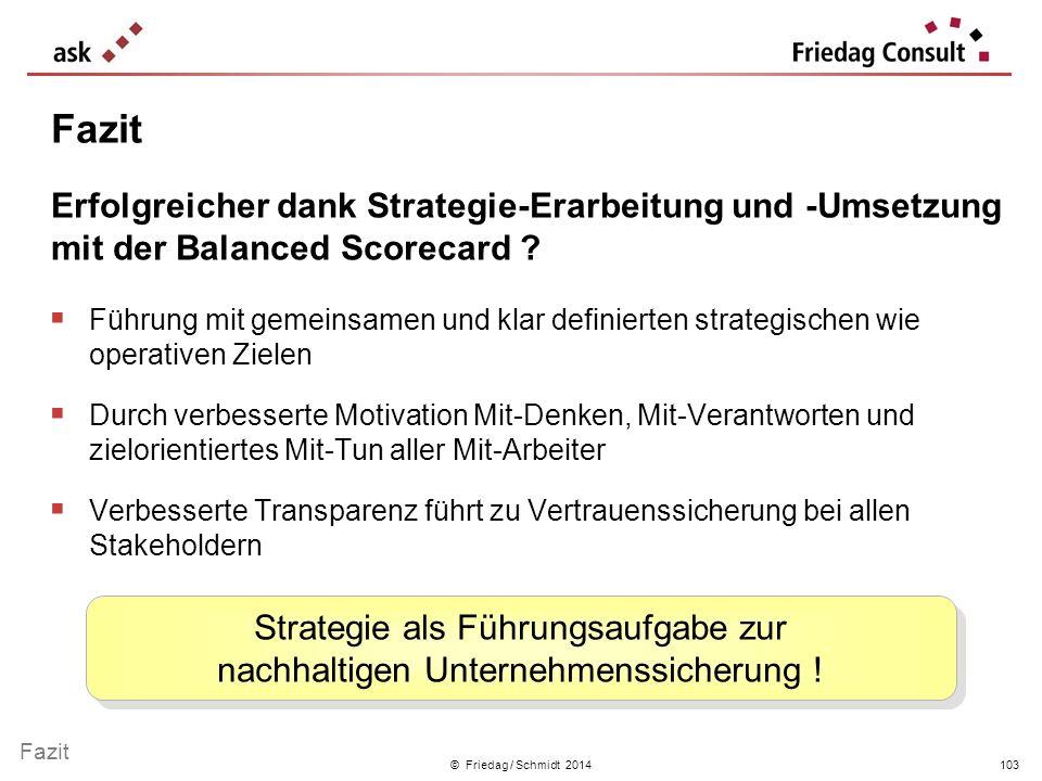 © Friedag / Schmidt 2014 Führung mit gemeinsamen und klar definierten strategischen wie operativen Zielen Durch verbesserte Motivation Mit-Denken, Mit