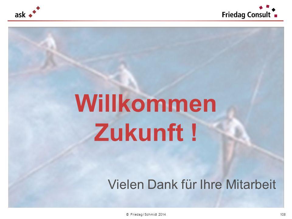 © Friedag / Schmidt 2014 Willkommen Zukunft ! Vielen Dank für Ihre Mitarbeit 108