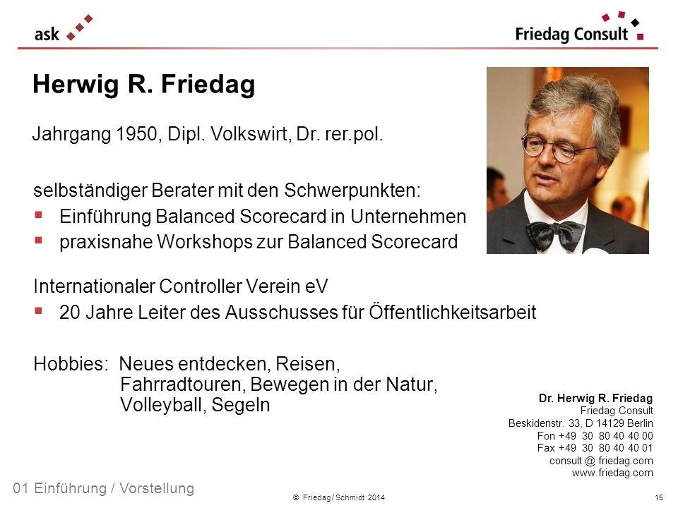 © Friedag / Schmidt 2014 selbständiger Berater mit den Schwerpunkten: Einführung Balanced Scorecard in Unternehmen praxisnahe Workshops zur Balanced S