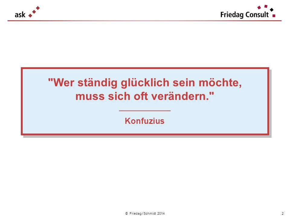 © Friedag / Schmidt 2014 Bitte versuchen Sie, in 1 Minute Ihre(n) Kolleg(en)in vorzustellen: Familiensituation Wofür ist sie / er im Unternehmen verantwortlich .