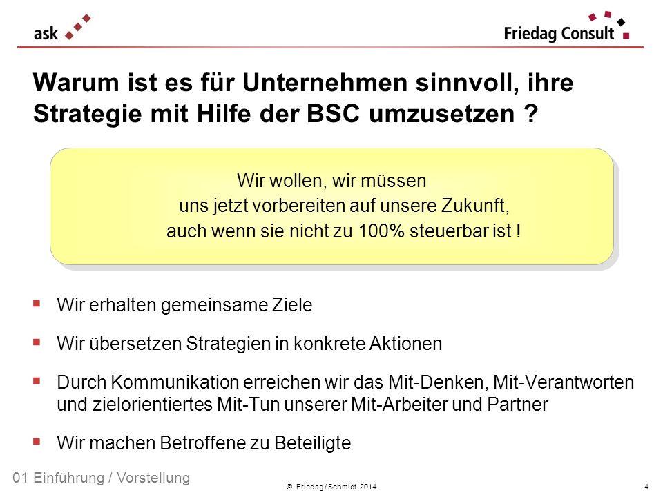 © Friedag / Schmidt 2014 Warum ist es für Unternehmen sinnvoll, ihre Strategie mit Hilfe der BSC umzusetzen ? Wir erhalten gemeinsame Ziele Wir überse