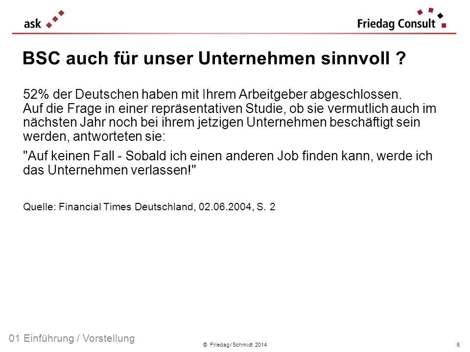 © Friedag / Schmidt 2014 Geschäfts-Idee Werte (Identifikation) Vision (grundsätz- liche Aus- richtung) Mission (gesellschaft- liche Bestim- mung) Worauf sind wir stolz.