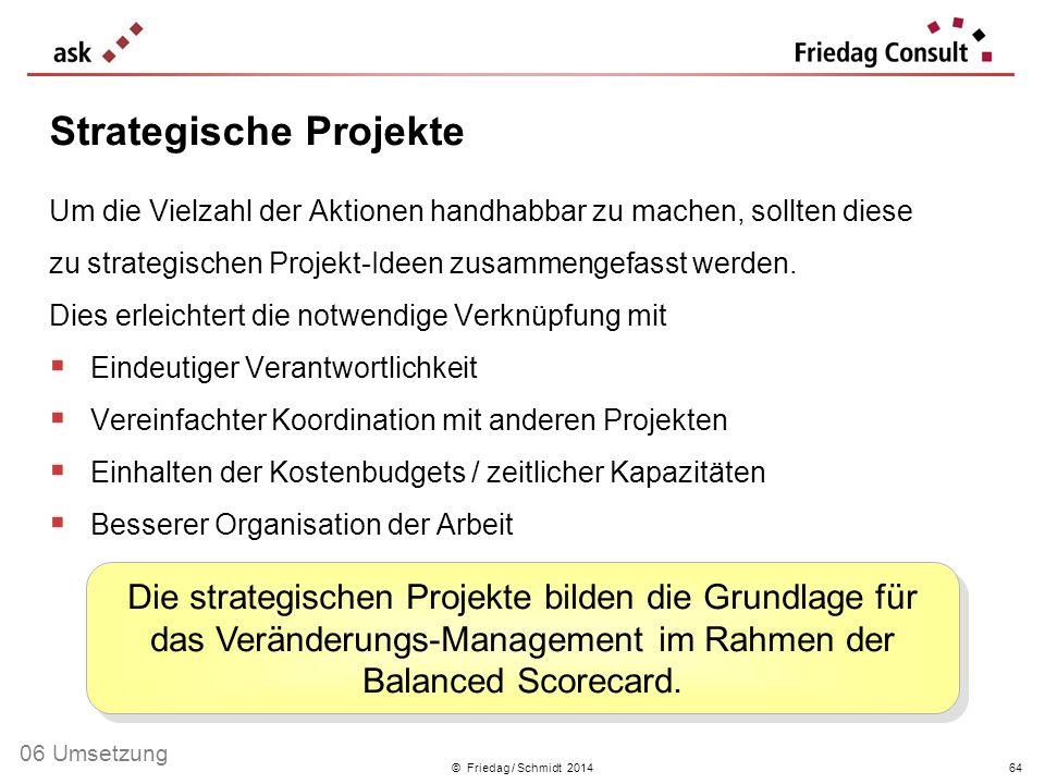 © Friedag / Schmidt 2014 Um die Vielzahl der Aktionen handhabbar zu machen, sollten diese zu strategischen Projekt-Ideen zusammengefasst werden. Dies