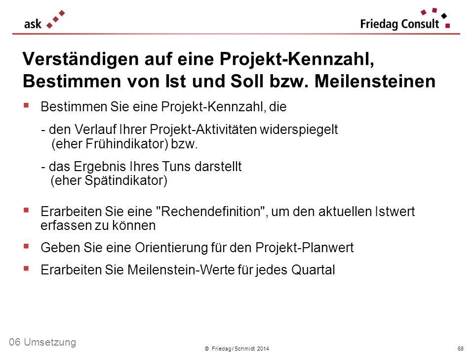 © Friedag / Schmidt 2014 Bestimmen Sie eine Projekt-Kennzahl, die - den Verlauf Ihrer Projekt-Aktivitäten widerspiegelt (eher Frühindikator) bzw. - da