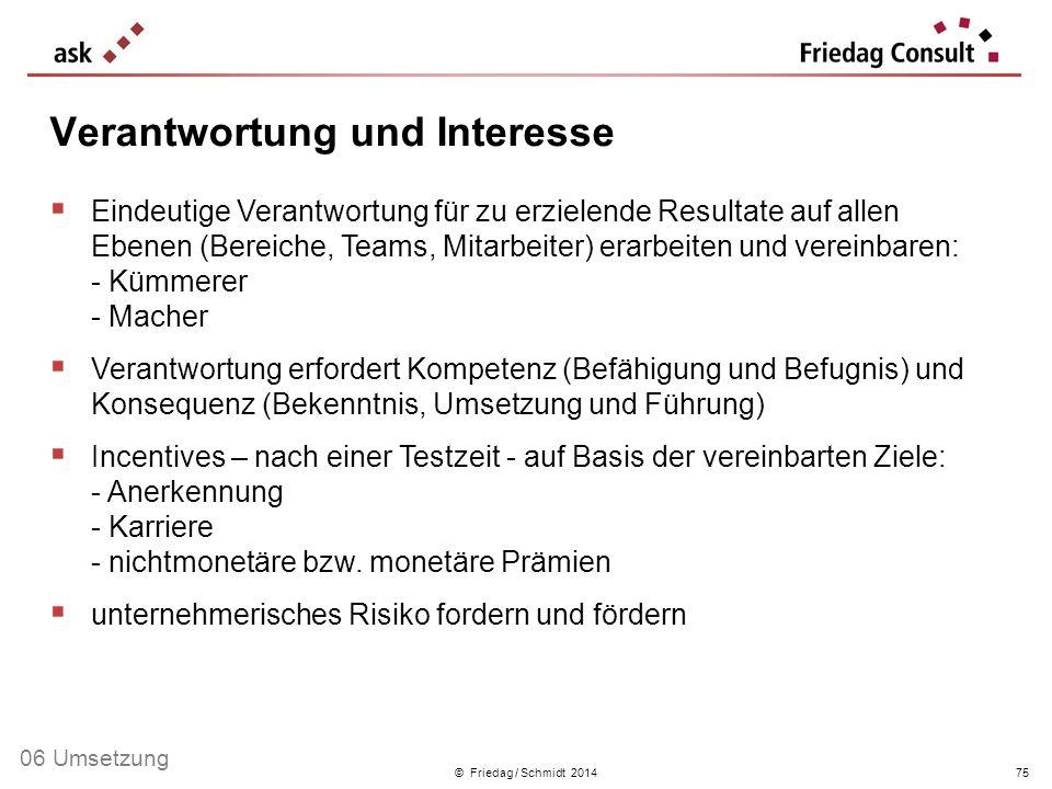 © Friedag / Schmidt 2014 Eindeutige Verantwortung für zu erzielende Resultate auf allen Ebenen (Bereiche, Teams, Mitarbeiter) erarbeiten und vereinbar