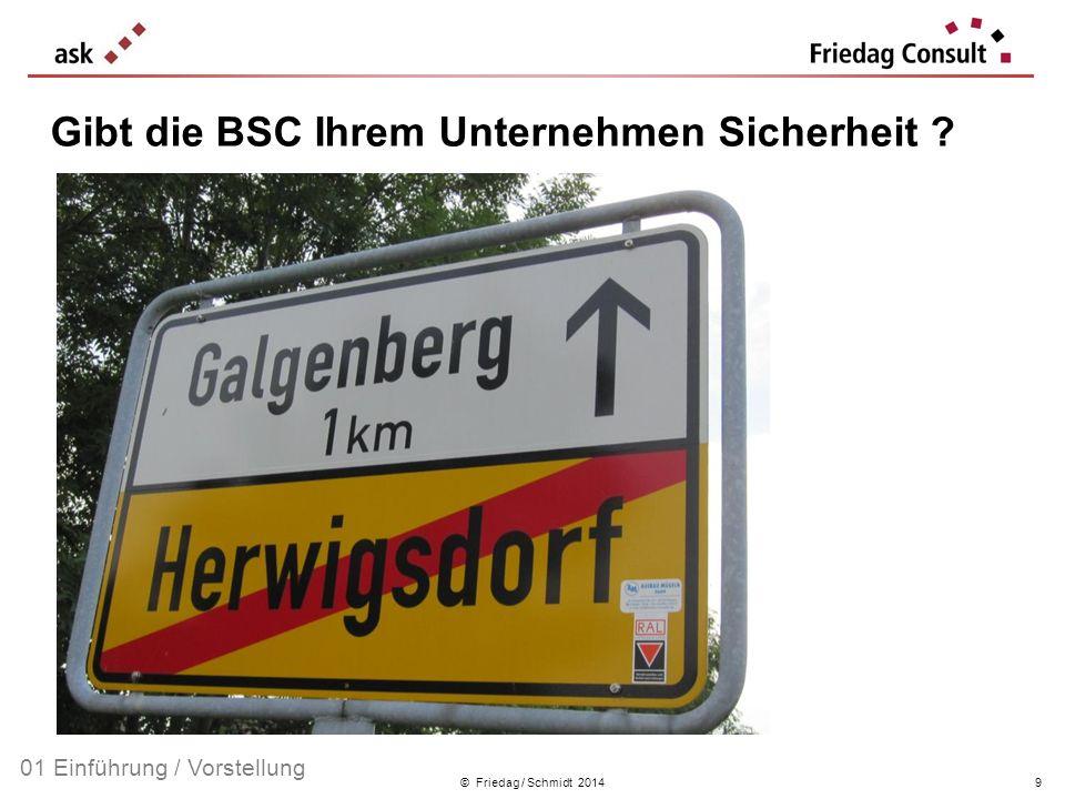 © Friedag / Schmidt 2014 Gibt die BSC Ihrem Unternehmen Sicherheit ? 01 Einführung / Vorstellung 9