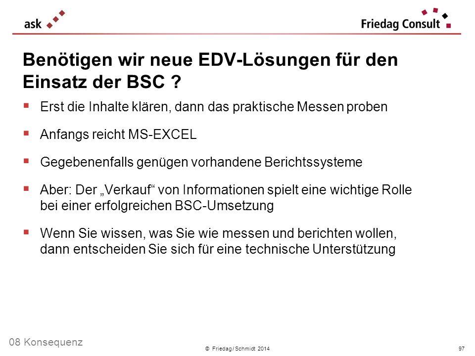 © Friedag / Schmidt 2014 Erst die Inhalte klären, dann das praktische Messen proben Anfangs reicht MS-EXCEL Gegebenenfalls genügen vorhandene Berichts