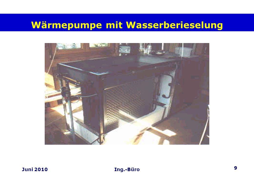 10 Juni 2010Ing.-Büro Die Zusammenarbeit der Komponenten Der Wasser-Eispeicher Er speichert die überschüssige Solarenergie, sobald der Puffer- speicher im Haus aufgeladen ist, und schützt so den Solarkollektor vor einer Überhitzung.