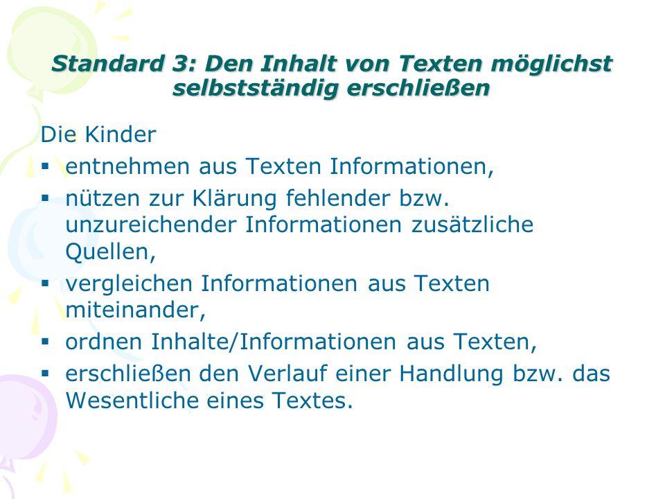 Standard 3: Den Inhalt von Texten möglichst selbstständig erschließen Die Kinder entnehmen aus Texten Informationen, nützen zur Klärung fehlender bzw.