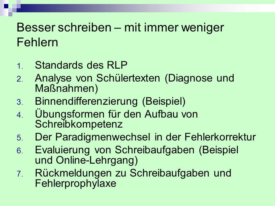 Besser schreiben – mit immer weniger Fehlern 1. Standards des RLP 2. Analyse von Schülertexten (Diagnose und Maßnahmen) 3. Binnendifferenzierung (Beis