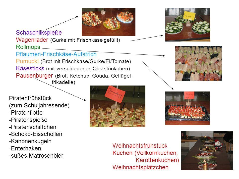 Schaschlikspieße Wagenräder (Gurke mit Frischkäse gefüllt) Rollmops Pflaumen-Frischkäse-Aufstrich Pumuckl (Brot mit Frischkäse/Gurke/Ei/Tomate) Käsest