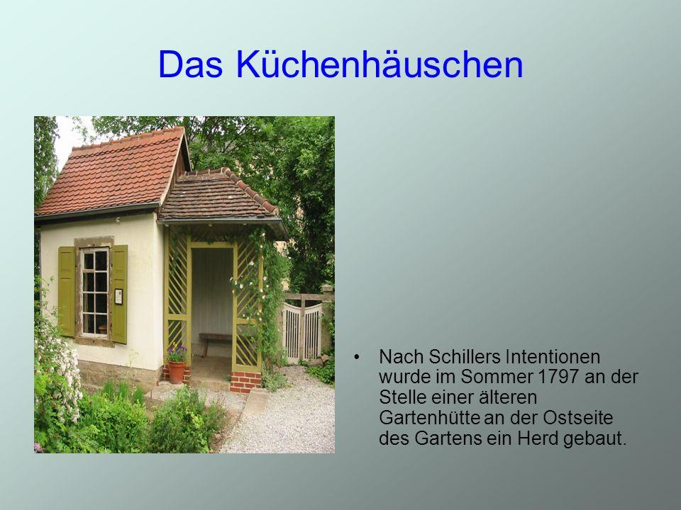 Das Küchenhäuschen Nach Schillers Intentionen wurde im Sommer 1797 an der Stelle einer älteren Gartenhütte an der Ostseite des Gartens ein Herd gebaut