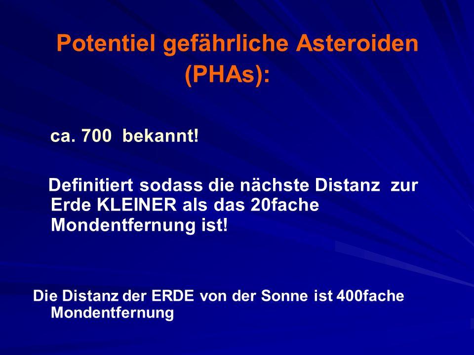 Potentiel gefährliche Asteroiden (PHAs): ca. 700 bekannt.