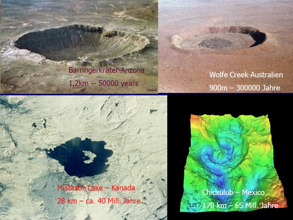 Barringerkrater-Arizona 1,2km -- 50000 years Wolfe Creek-Australien 900m – 300000 Jahre Mistastin Lake – Kanada 28 km – ca.
