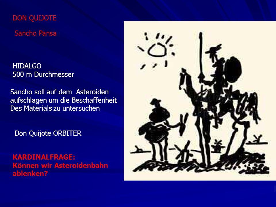 DON QUIJOTE Sancho Pansa HIDALGO 500 m Durchmesser Sancho soll auf dem Asteroiden aufschlagen um die Beschaffenheit Des Materials zu untersuchen Don Quijote ORBITER KARDINALFRAGE: Können wir Asteroidenbahn ablenken