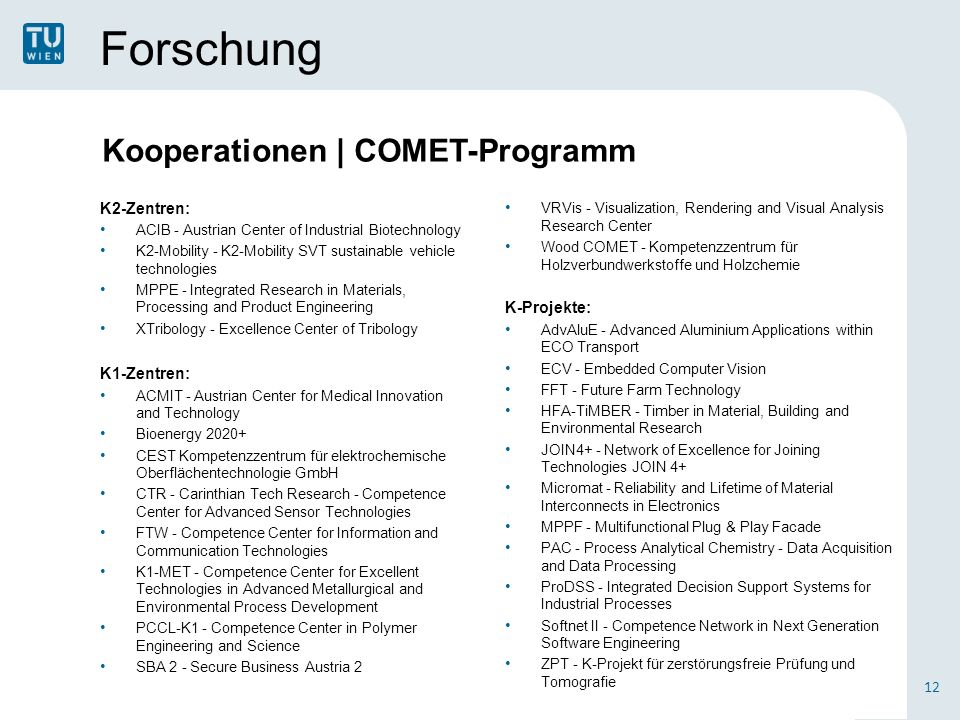Forschung K2-Zentren: ACIB - Austrian Center of Industrial Biotechnology K2-Mobility - K2-Mobility SVT sustainable vehicle technologies MPPE - Integrated Research in Materials, Processing and Product Engineering XTribology - Excellence Center of Tribology K1-Zentren: ACMIT - Austrian Center for Medical Innovation and Technology Bioenergy 2020+ CEST Kompetenzzentrum für elektrochemische Oberflächentechnologie GmbH CTR - Carinthian Tech Research - Competence Center for Advanced Sensor Technologies FTW - Competence Center for Information and Communication Technologies K1-MET - Competence Center for Excellent Technologies in Advanced Metallurgical and Environmental Process Development PCCL-K1 - Competence Center in Polymer Engineering and Science SBA 2 - Secure Business Austria 2 12 VRVis - Visualization, Rendering and Visual Analysis Research Center Wood COMET - Kompetenzzentrum für Holzverbundwerkstoffe und Holzchemie K-Projekte: AdvAluE - Advanced Aluminium Applications within ECO Transport ECV - Embedded Computer Vision FFT - Future Farm Technology HFA-TiMBER - Timber in Material, Building and Environmental Research JOIN4+ - Network of Excellence for Joining Technologies JOIN 4+ Micromat - Reliability and Lifetime of Material Interconnects in Electronics MPPF - Multifunctional Plug & Play Facade PAC - Process Analytical Chemistry - Data Acquisition and Data Processing ProDSS - Integrated Decision Support Systems for Industrial Processes Softnet II - Competence Network in Next Generation Software Engineering ZPT - K-Projekt für zerstörungsfreie Prüfung und Tomografie Kooperationen   COMET-Programm