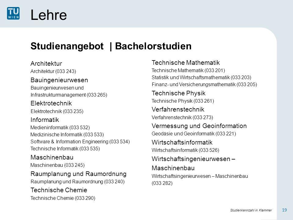 Lehre Architektur Architektur (033 243) Bauingenieurwesen Bauingenieurwesen und Infrastrukturmanagement (033 265) Elektrotechnik Elektrotechnik (033 2