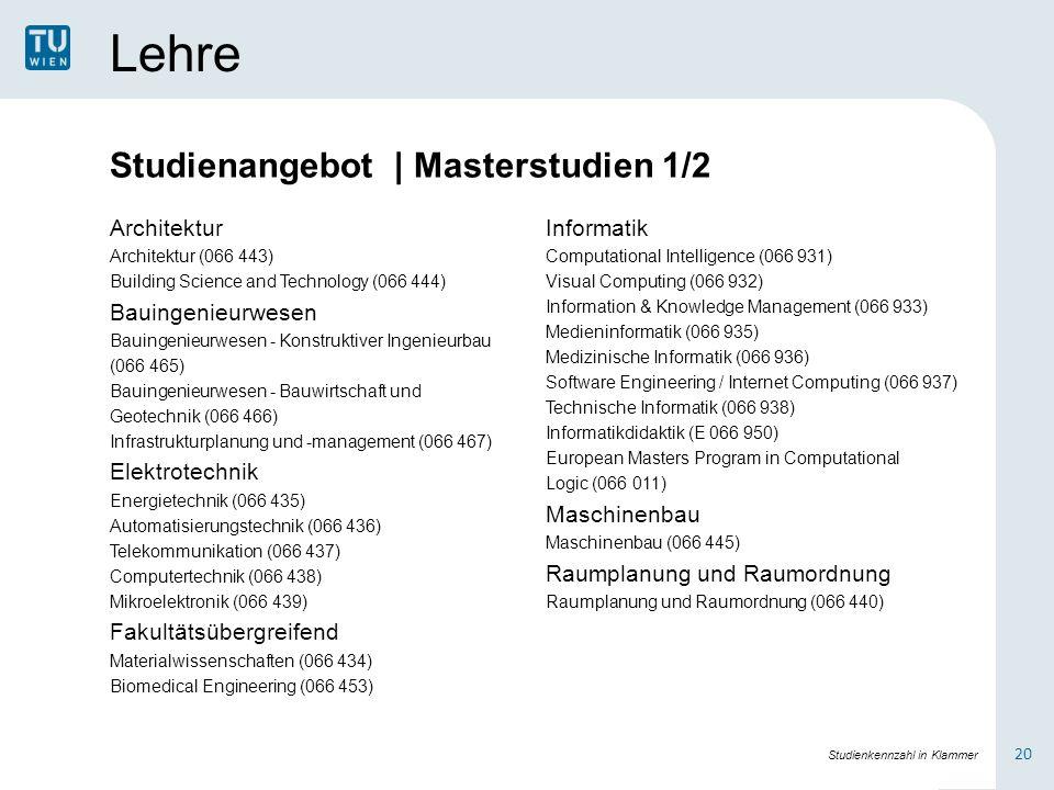 Lehre Architektur Architektur (066 443) Building Science and Technology (066 444) Bauingenieurwesen Bauingenieurwesen - Konstruktiver Ingenieurbau (06