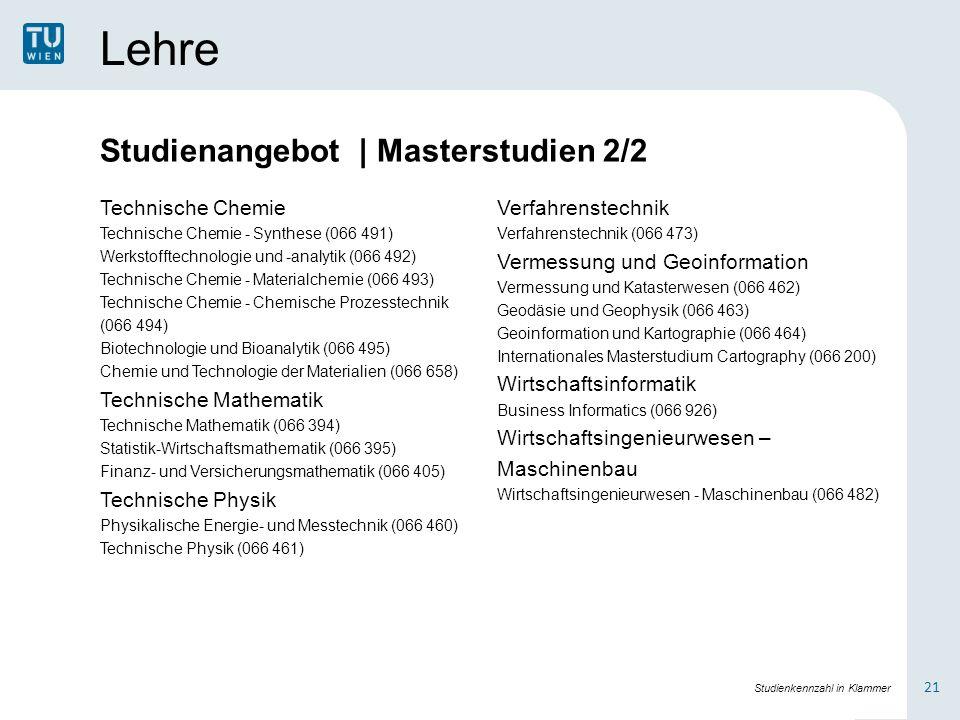 Lehre Technische Chemie Technische Chemie - Synthese (066 491) Werkstofftechnologie und -analytik (066 492) Technische Chemie - Materialchemie (066 49