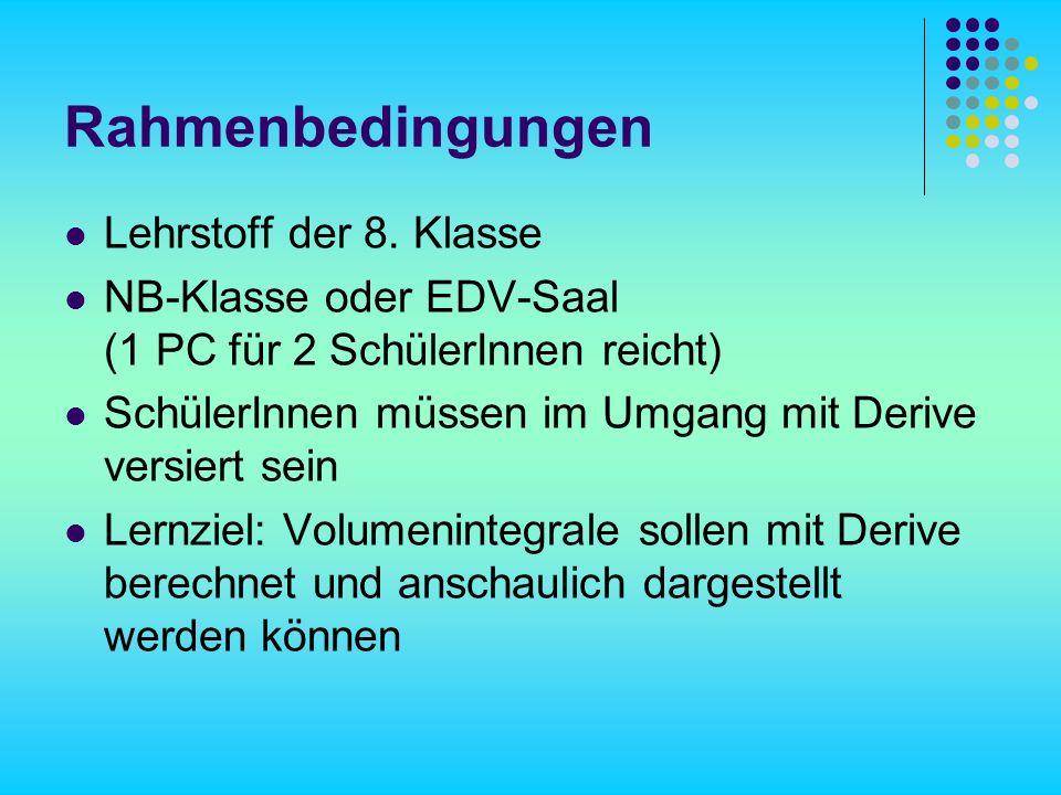 Rahmenbedingungen Lehrstoff der 8.