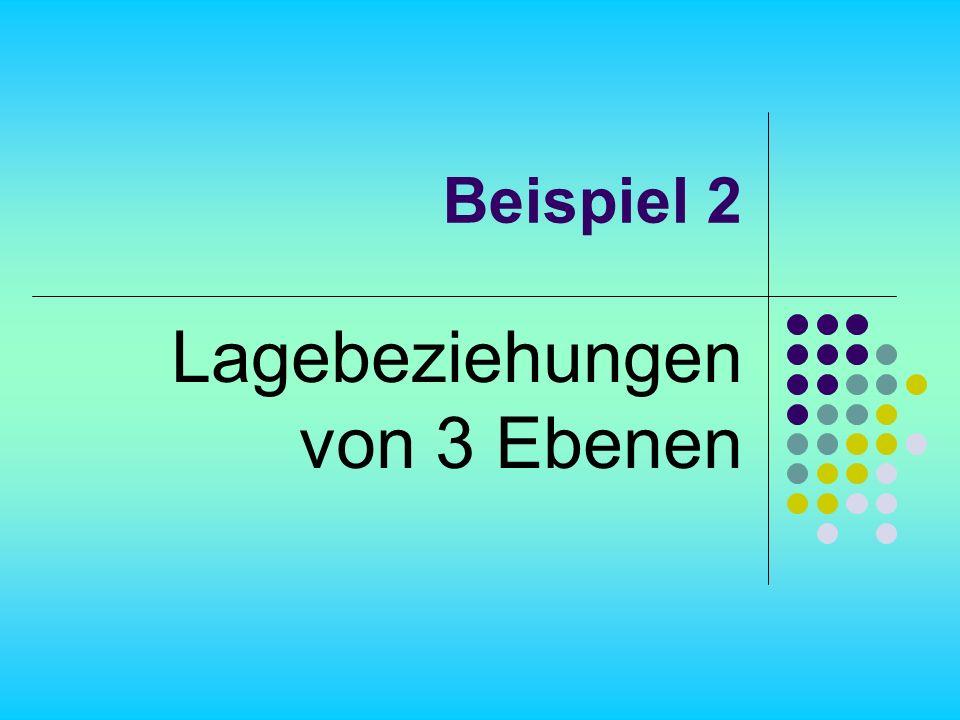 Beispiel 2 Lagebeziehungen von 3 Ebenen
