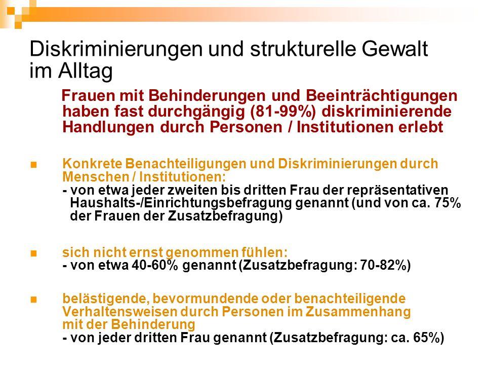 Diskriminierungen und strukturelle Gewalt im Alltag Frauen mit Behinderungen und Beeinträchtigungen haben fast durchgängig (81-99%) diskriminierende H