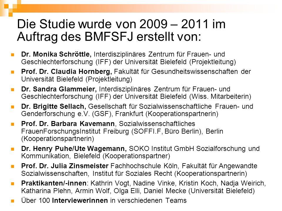 Die Studie wurde von 2009 – 2011 im Auftrag des BMFSFJ erstellt von: Dr. Monika Schröttle, Interdisziplinäres Zentrum für Frauen- und Geschlechterfors