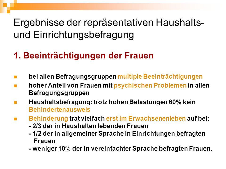 Ergebnisse der repräsentativen Haushalts- und Einrichtungsbefragung 1. Beeinträchtigungen der Frauen bei allen Befragungsgruppen multiple Beeinträchti