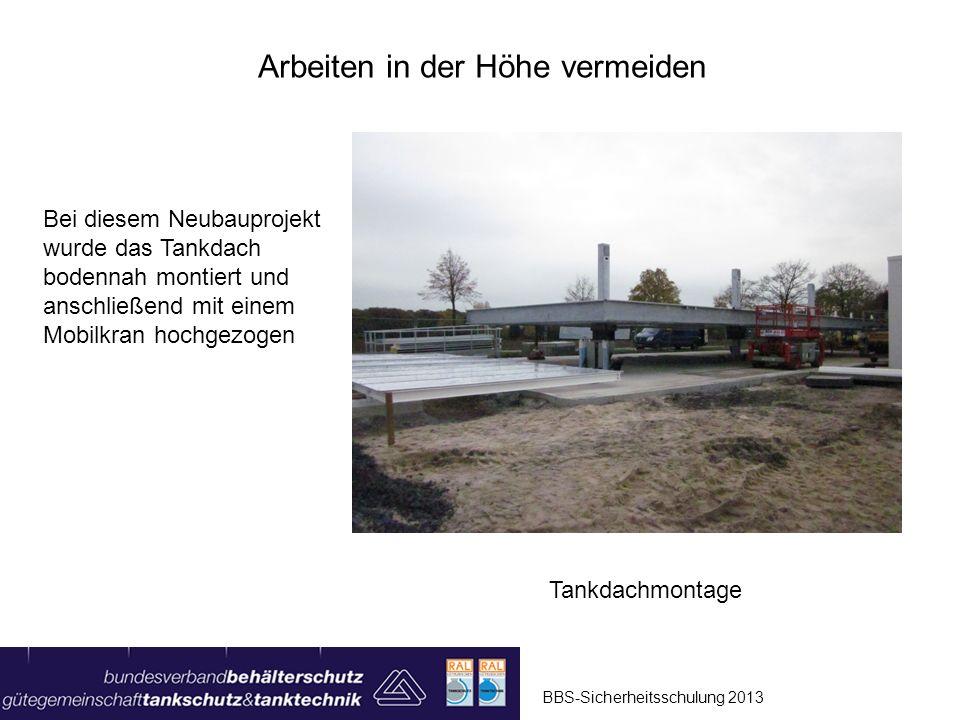 BBS-Sicherheitsschulung 2013 Arbeiten von permanenten Arbeitsplattformen mit Geländer Aufstieg über Anlegeleiter Sicherung durch umlaufendes Geländer