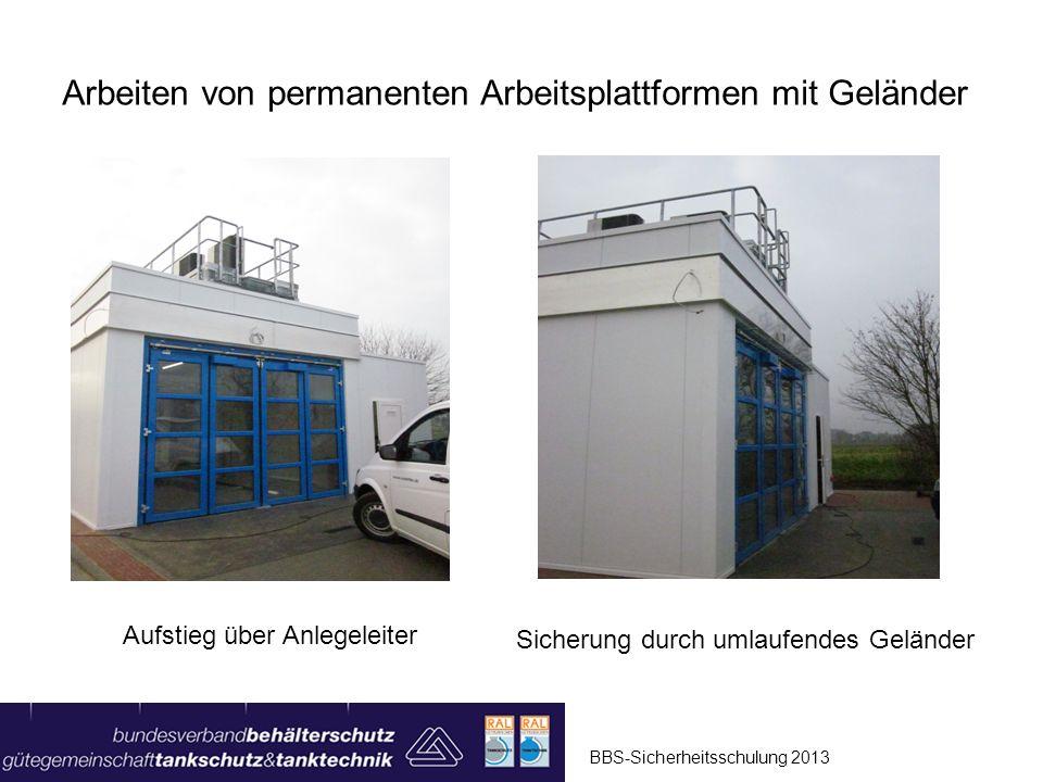 BBS-Sicherheitsschulung 2013 Arbeiten von mobilen Gerüsten Rollgerüste sind eine geeignete Arbeitsplattform, um Arbeiten aus sicherer Standhöhe auszuführen (z.