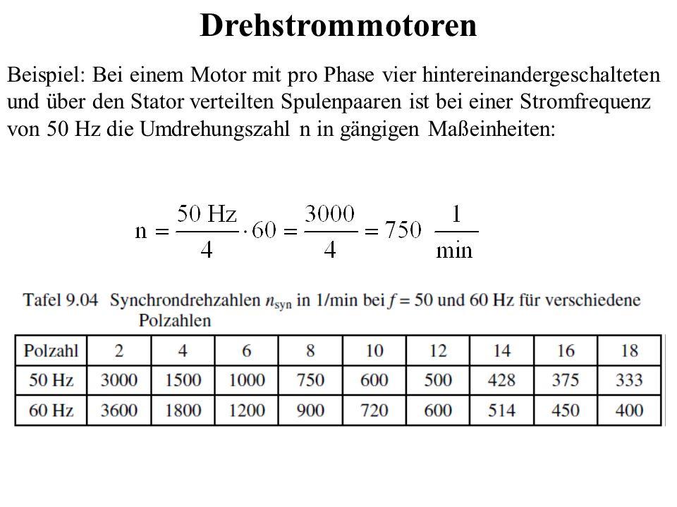 Wechsel- und Drehstrommotoren Bei Wechselstrom kann auch auf einen Kommutator verzichtet werden, wenn die Umdrehungszahl im Rhythmus des Wechselstromes erfolgt; das dann mit umlaufende Magnetfeld des Rotors wird dann: durch vom Erregerfeld induzierte Ströme in einer Kurzschluss- wicklung (Asynchronmotor) durch Magnetisierung eines Eisenkernes mit Polen (Reluktanzmotor, Schrittmotor) durch Dauermagnete (Schrittmotor, elektronisch kommutierter Gleichstrommotor, Synchronmotor) durch einen elektrisch erregten Läufer (siehe Synchronmaschine) erzeugt.