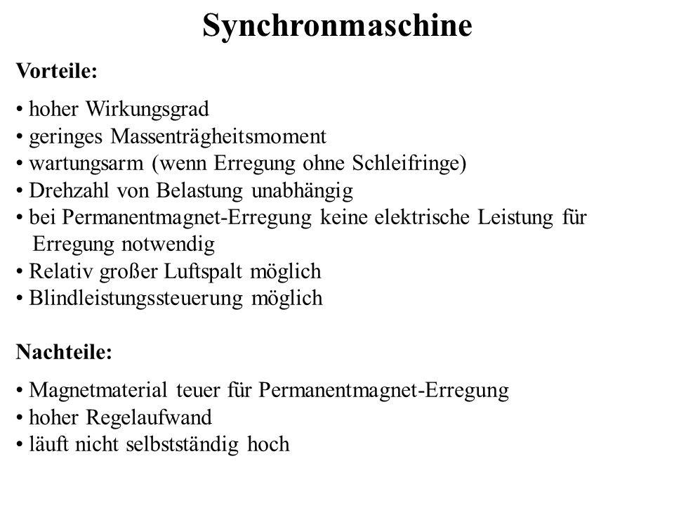 Asynchronmaschine Bei der Asynchronmaschine bestehen die Spulen im Rotor (Läufer) aus kurzgeschlossenen Leiterschleifen.