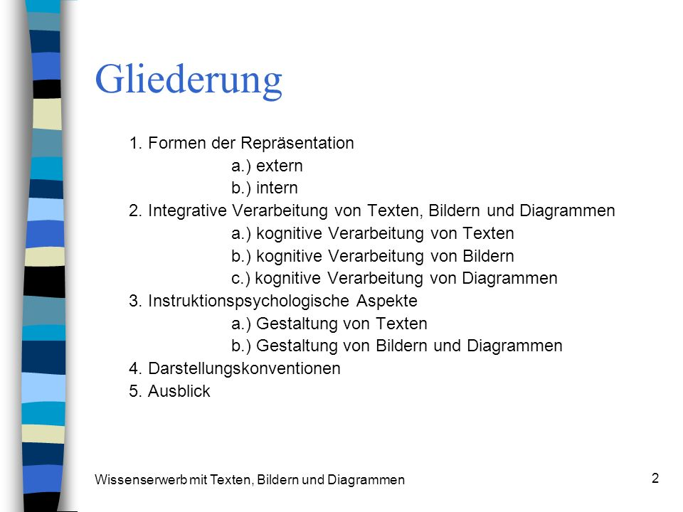Wissenserwerb mit Texten, Bildern und Diagrammen 2 Gliederung 1. Formen der Repräsentation a.) extern b.) intern 2. Integrative Verarbeitung von Texte