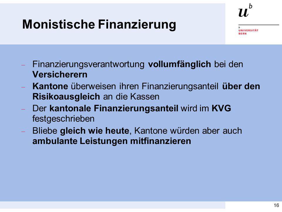 16 Monistische Finanzierung Finanzierungsverantwortung vollumfänglich bei den Versicherern Kantone überweisen ihren Finanzierungsanteil über den Risik