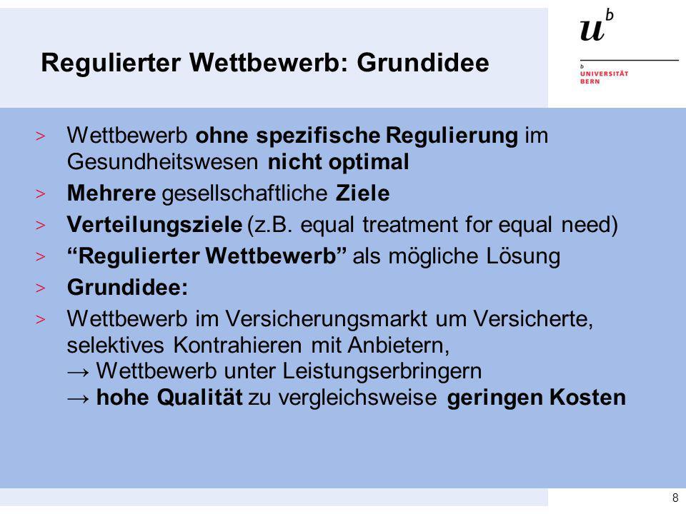 Regulierter Wettbewerb: Grundidee > Wettbewerb ohne spezifische Regulierung im Gesundheitswesen nicht optimal > Mehrere gesellschaftliche Ziele > Vert