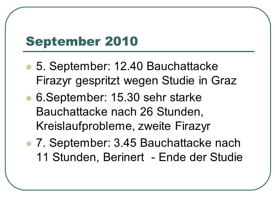 September 2010 5. September: 12.40 Bauchattacke Firazyr gespritzt wegen Studie in Graz 6.September: 15.30 sehr starke Bauchattacke nach 26 Stunden, Kr