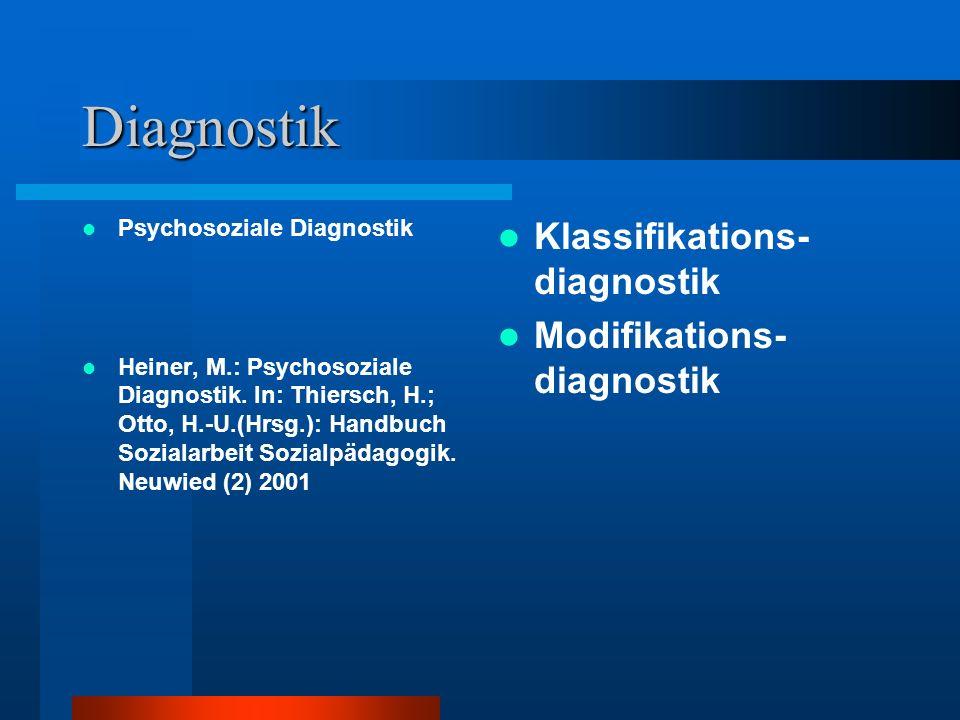 Diagnostik Psychosoziale Diagnostik Heiner, M.: Psychosoziale Diagnostik. In: Thiersch, H.; Otto, H.-U.(Hrsg.): Handbuch Sozialarbeit Sozialpädagogik.