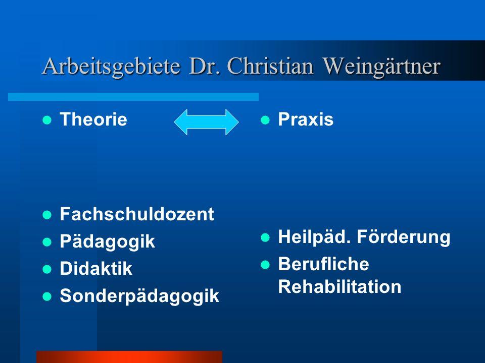 Arbeitsgebiete Dr. Christian Weingärtner Theorie Fachschuldozent Pädagogik Didaktik Sonderpädagogik Praxis Heilpäd. Förderung Berufliche Rehabilitatio