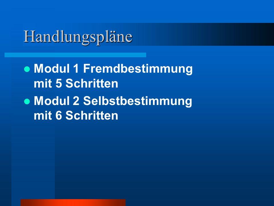 Handlungspläne Modul 1 Fremdbestimmung mit 5 Schritten Modul 2 Selbstbestimmung mit 6 Schritten