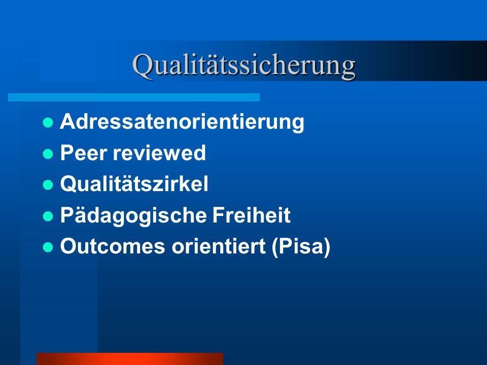 Qualitätssicherung Adressatenorientierung Peer reviewed Qualitätszirkel Pädagogische Freiheit Outcomes orientiert (Pisa)