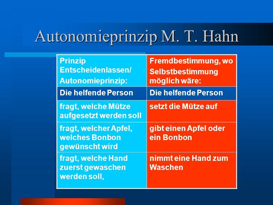 Autonomieprinzip M. T. Hahn Prinzip Entscheidenlassen/ Autonomieprinzip: Fremdbestimmung, wo Selbstbestimmung möglich wäre: Die helfende Person fragt,