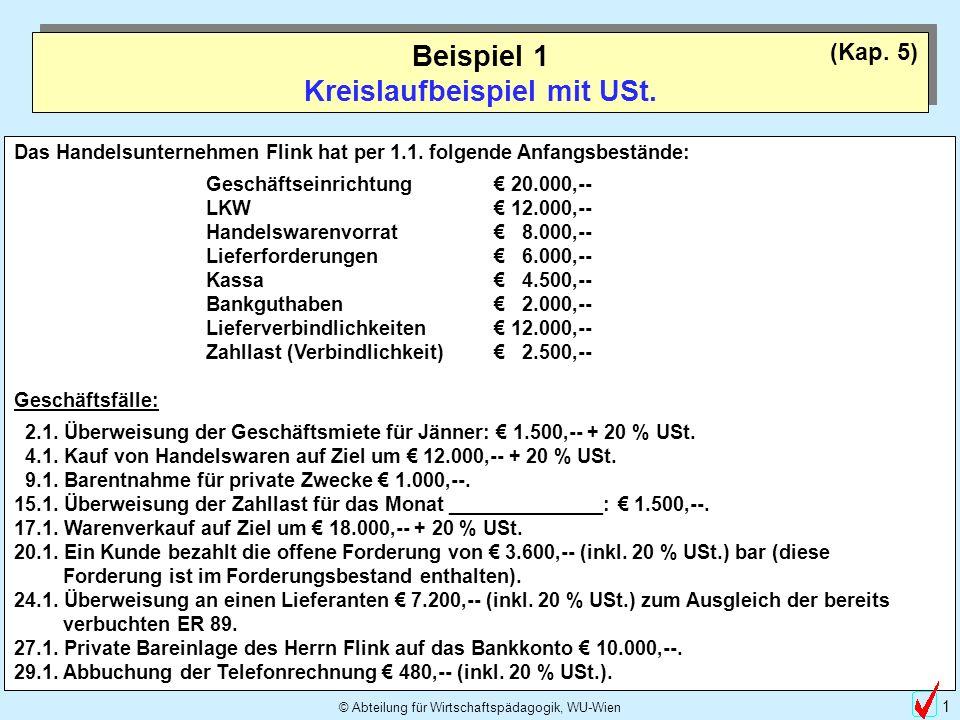© Abteilung für Wirtschaftspädagogik, WU-Wien 2 Beispiel 1 Kreislaufbeispiel mit USt.