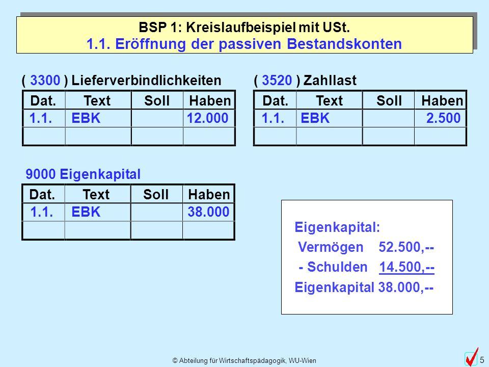 © Abteilung für Wirtschaftspädagogik, WU-Wien 46 Dat.TextSollHaben 3520 Zahllast 1.1.